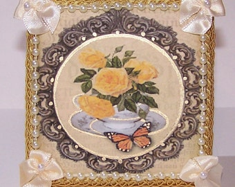 Mixed Media, Picture, Home Decor, Teacup, Tea Time, Tea Party, Cup and Saucer, Monarch Butterfly, Gifts for Her, Yellow, Cream, Yellow Rose