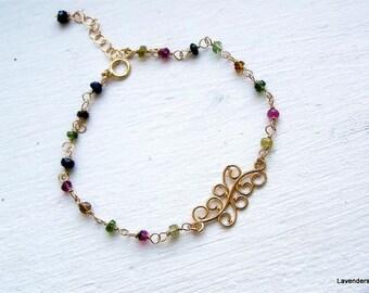 Watermelon Tourmaline Bracelet , Gold Charm Bracelet , Gold bracelet , Wire wrapped Gemstone Bracelet , October  Birthstone