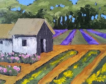 Lynne French CALIFORNIA Plein Air Impressionist Landscape Painting Flower Farm GARDEN Potting SHED 16x20 Free Shipping Art