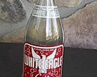 Vintage Glass Soda Bottle White Eagle