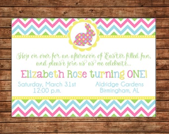 Easter Bunny Rabbit Chevron Egg Hunt Spring Polka Dot Boy or Girl Baby Birthday Invitation - DIGITAL FILE