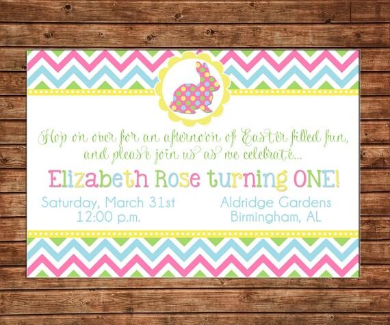 Easter Bunny Rabbit Chevron Egg Hunt Spring Polka Dot Boy or Girl Baby Birthday Invitation - DIGITAL FILE