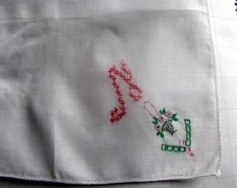 """Vintage White Linen Hanky/Handkerchief  Embroidered  """"N"""" in Pink Floss"""