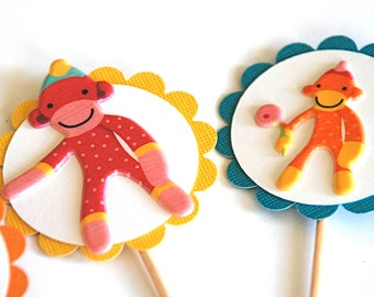 Sock Monkey Cupcake Toppers - Bright Edition