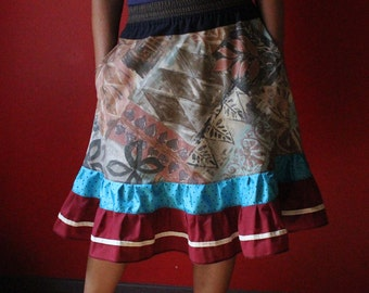Elastic Waisted ruffle skirt with pockets