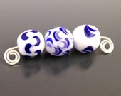 Three Loose Lampwork Glass Beads Chinese Blue and White