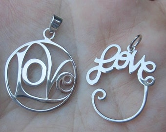 Sterling Silver Love Pendant, or Charm Holder(one)