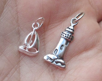 Sterling Silver Light House Charm or Sailboat(one, or two charms)