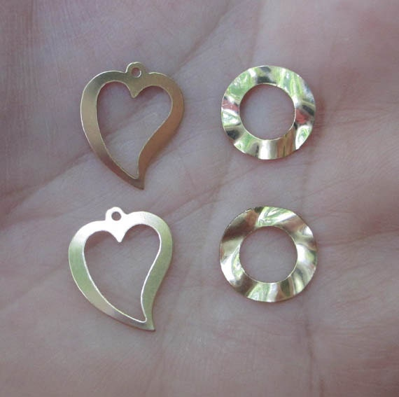 Gold Filled Open Heart Charms or Gold Filled Wavy Washers