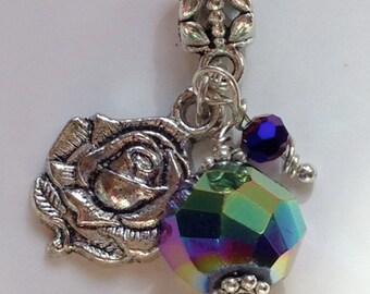 Tibetan Silver Rose European Charm Bead Purple Iris Bracelet Necklace Anklet Charm (LGD106)