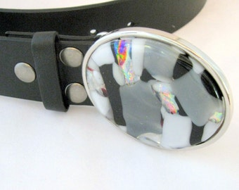 black and white sparkly Moonstruck belt for women, handcrafted glass buckle, snap on leather strap