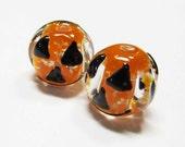 LOOSE BEADS - Lampwork Glass Art Beads - Glow In the Dark Black, Orange, and Clear Round Halloween Jack-O-Lantern's (2 beads) - gla847