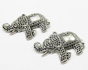 Metal Pendants - Antiqued Silver Pewter 31x44mm Indian Elephants (2 pendants) - spa576