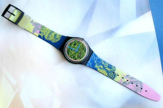 Vintage Swatch watch The Globe GB137 Christopher Columbus 1991