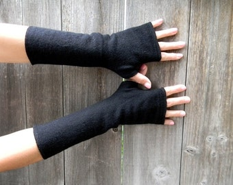 Upcycled Women Wool Arm Warmers Fingerless Gloves Wrist Warmers Classic Black