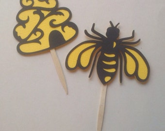 Honey Bee and Bee Hive Cupcake Toppers - Pkg of 12