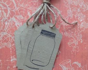 Hand Stamped Wood Grain/Jar Tags - Set of 6