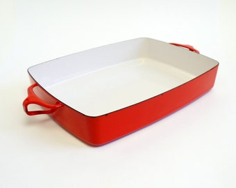Reduced / Vintage Mid Century Dansk Casserole Roasting Pan / Bright Red Orange Enamel / 70s Kitchen
