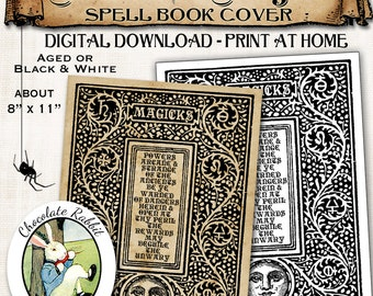 Magick Spell Book Cover Halloween Wizard Witch Vintage Digital Download Printable Image Clip Art Scrapbook DIY Supplies Collage Sheet