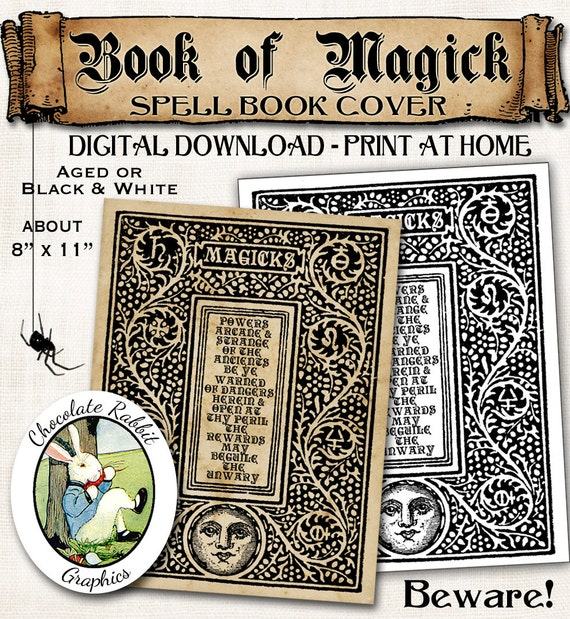 Printable Book Cover Labels : Magick spell book cover halloween wizard witch vintage digital