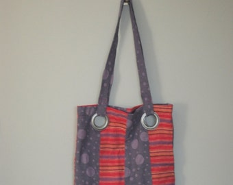 Tote Me Away - Large Lined Fabric Tote with Silver Grommets Grommets - Textured Purple Polka Dots and Pink Linen Strips