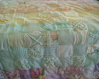 CUSTOM ORDER QUILT Sample - Over The Pastel Rainbow - A Handmade Cotton Chenille Quilt Throw