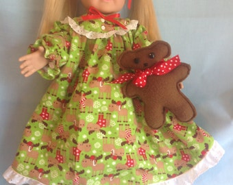 American Girl doll or any 18 inch doll. 3 PC. Holiday Nightgown Set. Includes nightgown, teddy bear, and booties.