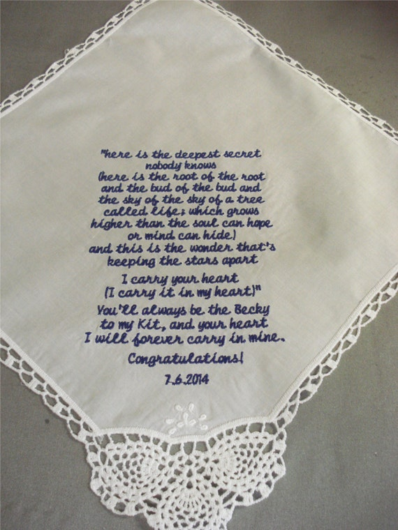Wedding poem handkerchief machine embroidered by