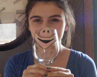 Face Changing Wine Glass by Jennie Nelson  PIG FACE