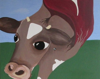 Surreal Cow TBone Steak Digital Download of Painting by Jennie Nelson
