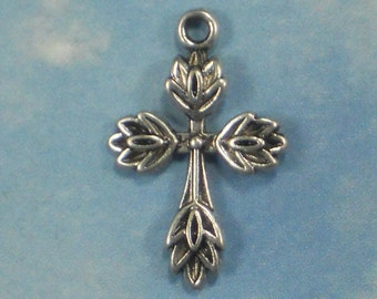 6 Silver Leaf Edged Cross Charms 25mm (P1575)