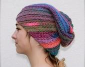 slouchy crochet beanie spiral ribbed hat fuschia, green, blue
