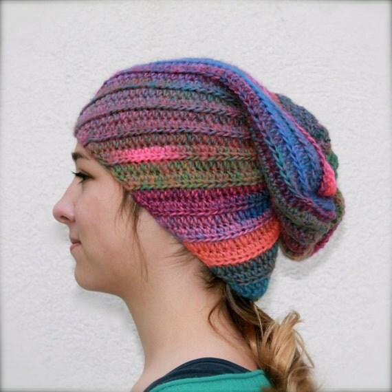 Crochet Hat Pattern Spiral Rib : slouchy crochet beanie spiral ribbed hat fuschia green by ...