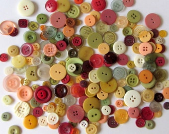 100 Assorted  AUTUMN SPICE Craft Buttons, craft, sewing, scrapbooking, tags, cards, paper, notions