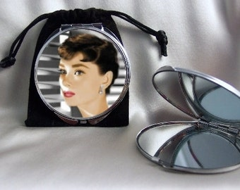 Audrey Hepburn Sabrina Compact Mirror 1 side magnifying mirror 1 side regular mirror comes with pouch