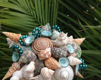 Wedding Seashell Small Blue Turquoise  Bouquet for Bride or Bridesmaids Sea Shells