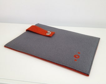 Laptop/notebook Sleeve in Gray and Heathered Orange Felt (two sided)