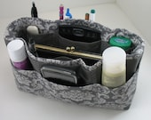 Purse Organizer Insert with Enclosed Bottom - Charcoal Gray Damask  Print- Medium Pictured - 5 sizes available with options
