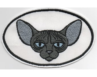 Sphynx Cat Machine Embroidered Patch - Blue Grey Hairless Sphynx or Peterbald Kitty in Oval