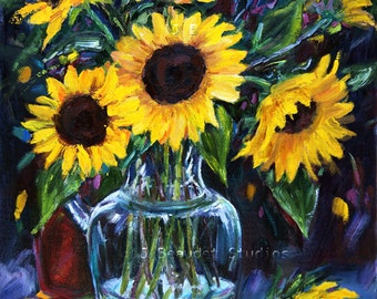 Print of Original Painting FLORAL ART Sunflowers Giclee 8x10