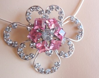 1940's Brooch / Pendant, White Gold Fill, Pink Rhinestone, Diamente Loops