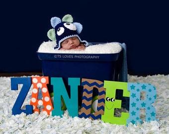 Baby Boy Hat BLUE MONSTER Newborn Baby Boy Crochet Hat Halloween Hat