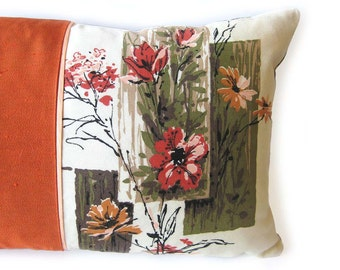 """Throw Pillow - 1960s Vintage Fabric  - Asian Floral Print in Olive Orange Peach / 24"""" x 12"""""""