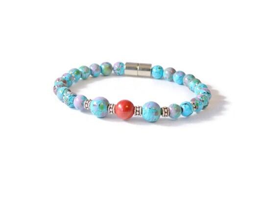 Turquoise Hematite Bracelet w/ Red Coral, Magnetic Health Bracelet, Hematite Jewelry, Arthritis Bracelet, Healing Jewelry
