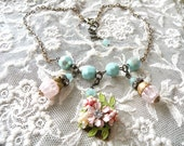 reserved....SWEET vintage assemblage necklace flowers pastel charm unique ooak  shabby chic