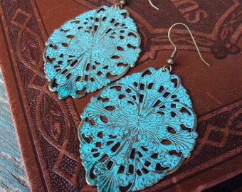 Bohemian Chic Earrings Verdigris Metal Medallions Turquoise and aged Brass