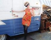 Vintage 1960s Mod Reversible Day Dress Floral Orange and Blue Novelty Print Dress M/L