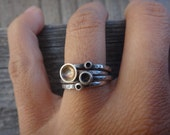 4 Cup Mushrooms Sterling Silver Stack Rings (Made to Order)