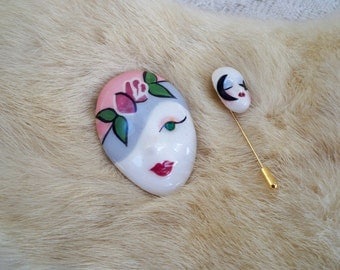 Vintage Jewelry Brooch and Stick Pin Ceramic Head Numbered Avant Garde