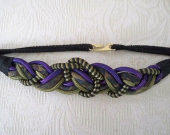 Vintage Accessory Women's Belt Braided Rope Belt Purple, Gold and Black